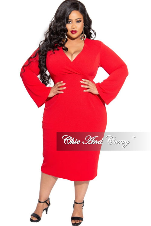 New Plus Size Faux Wrap Dress in Red