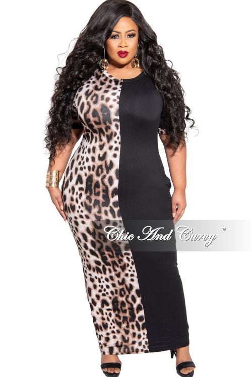 New Plus Size Colorblock Dress in Animal Print and Black