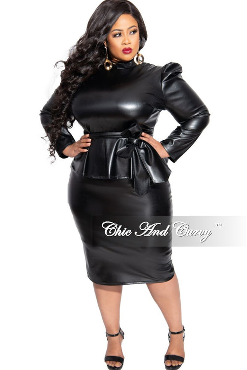 Final Sales Plus Size 2-Piece Liquid Puffy Sleeve Peplum Tie Top and Skirt Set in Black