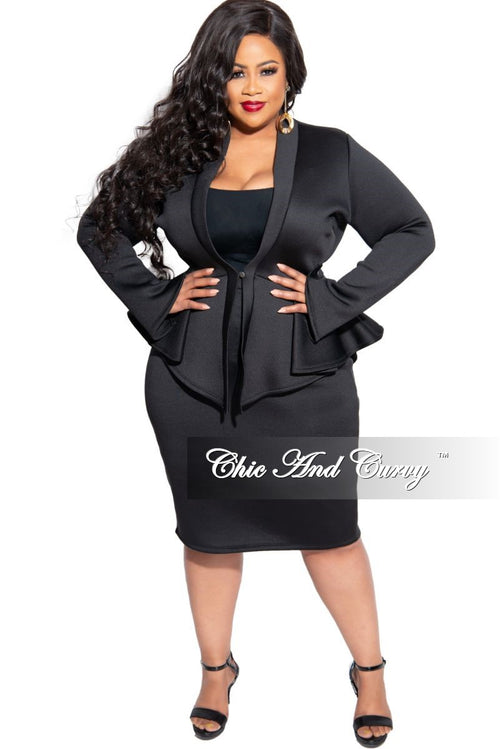 Final Sales Plus Size 2-Piece Peplum Top and Skirt Set in Black Scuba