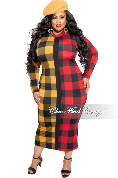 New Plus Size Colorblock BodyCon Dress with Back Gold Zipper in Red and Mustard Checker Print
