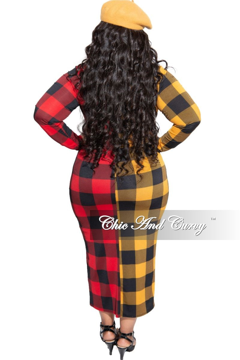 Final Sale Plus Size Colorblock BodyCon Dress in Red and Mustard Checker Print