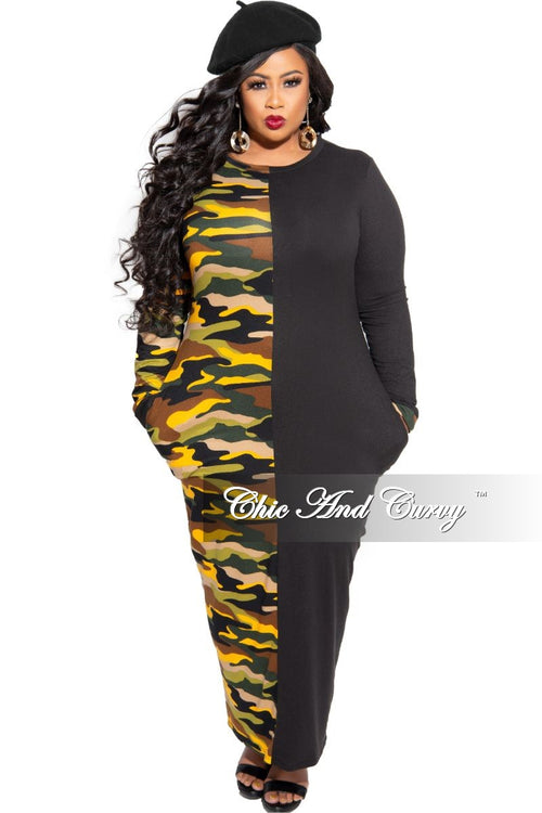 New Plus Size Colorblock Dress in Black and Yellow Camouflage Print