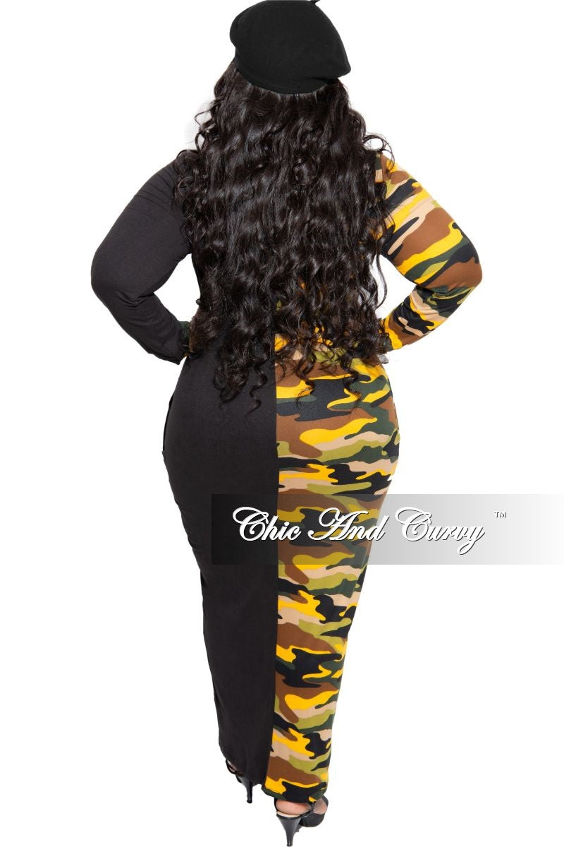 Final Sale Plus Size Colorblock Dress in Black and Yellow Camouflage Print