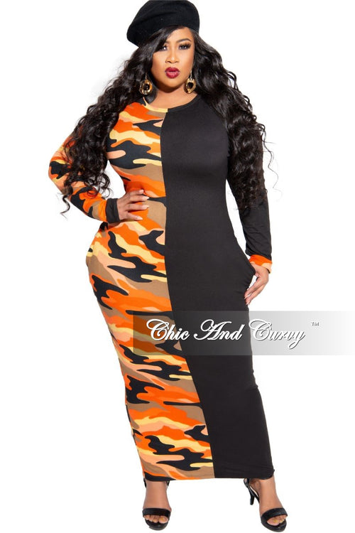 New Plus Size Colorblock Dress in Black and Orange Camouflage Print
