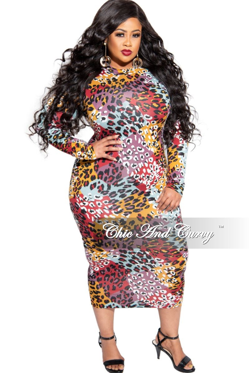 Final Sale Plus Size Reversible Long Sleeve BodyCon Dress in Multi-Color Animal Print