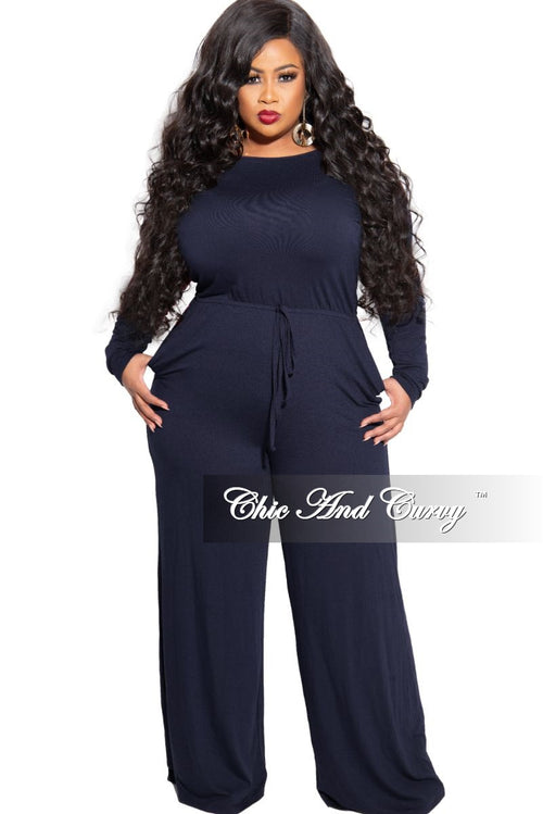 New Plus Size Long Sleeve Jumpsuit with Drawstring and Back Keyhole in Navy