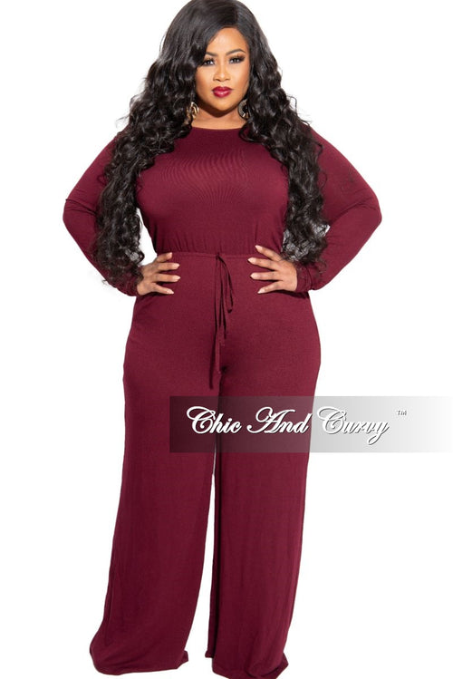 New Plus Size Long Sleeve Jumpsuit with Drawstring and Back Tie Keyhole in Burgundy