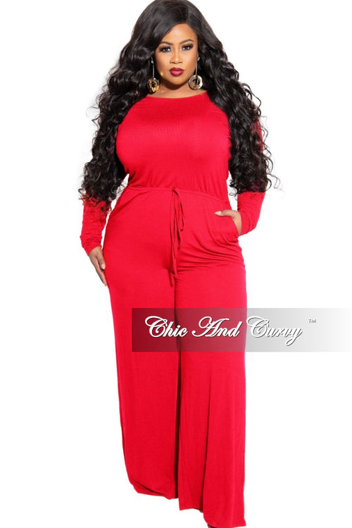 New Plus Size Long Sleeve Jumpsuit with Drawstring and Back Keyhole in Tomato Red