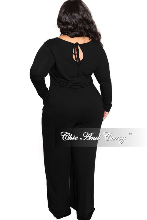 New Plus Size Long Sleeve Jumpsuit with Drawstring and Back Keyhole in Black