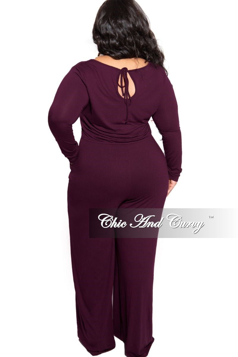 Final Sale Plus Size Long Sleeve Jumpsuit with Drawstring and Back Keyhole in Dark Plum Purple