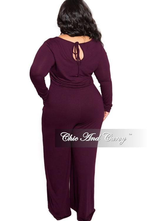 New Plus Size Long Sleeve Jumpsuit with Drawstring and Back Keyhole in Dark Plum