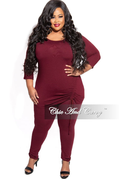New Plus Size 2-Piece Top with Side Ruched Drawstring and Legging Set in Burgundy