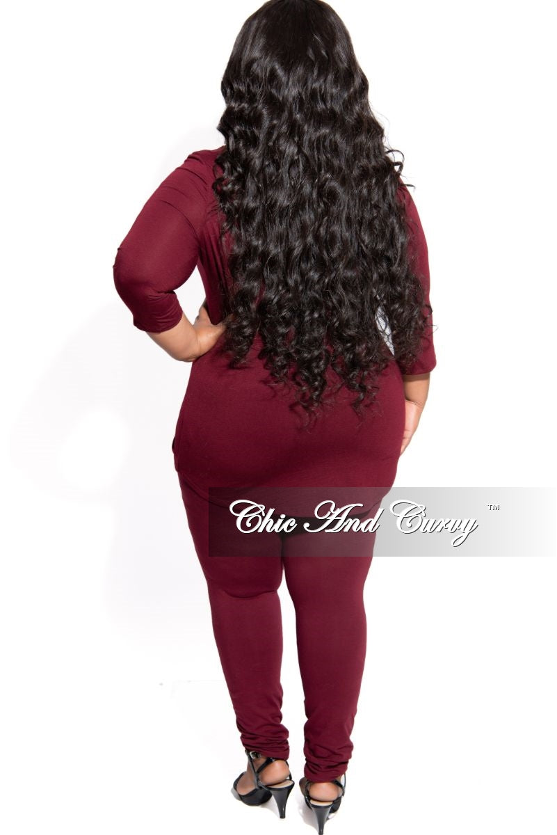 Final Sale Plus Size 2-Piece Top with Side Ruched Drawstring and Legging Set in Burgundy