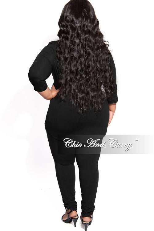 New Plus Size 2-Piece Top with Side Ruched Drawstring and Legging Set in Black
