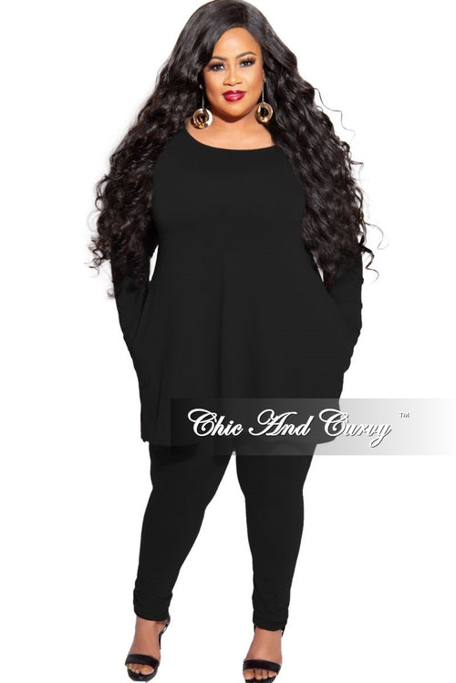New Plus Size 2-Piece Long Sleeve Flare Top with Side Pockets and Legging Set in Black