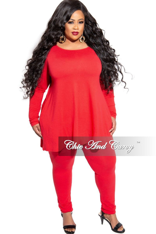 New Plus Size 2-Piece Long Sleeve Flare Top with Side Pockets and Legging Set in Red
