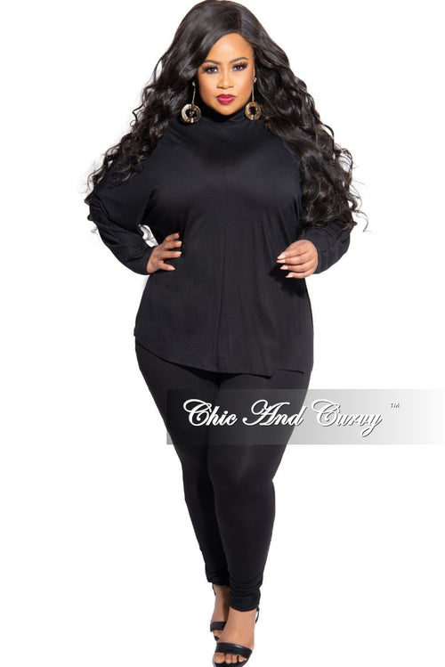 New Plus Size 2-Piece Turtle Neck Top with Side Slits and Legging Set in Black