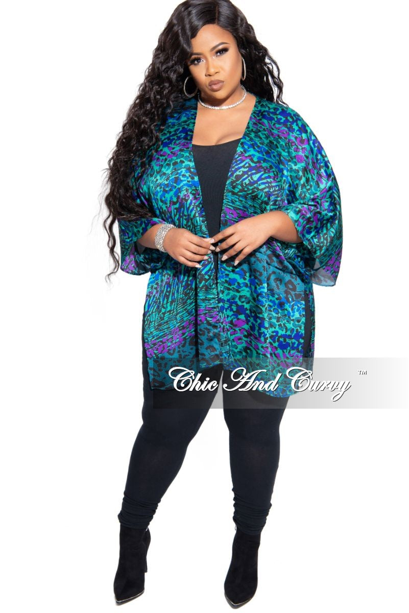 Final Sale Plus Size Chiffon Cardigan in Multi Color Animal Print