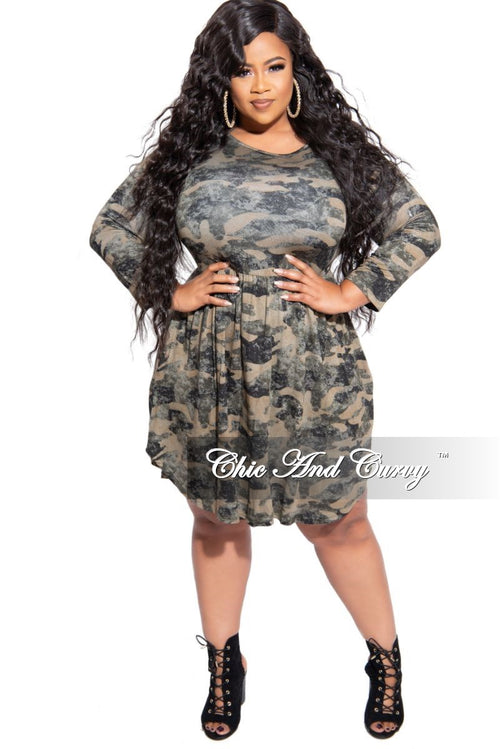 New Plus Size Flare Dress in Camouflage Print