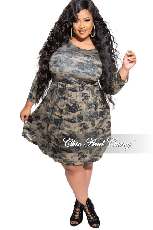 Final Sale Plus Size Flare Dress in Camouflage Print