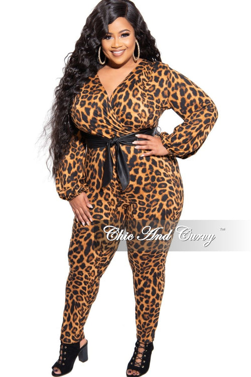 New Plus Size Faux Wrap Jumpsuit in Animal Print