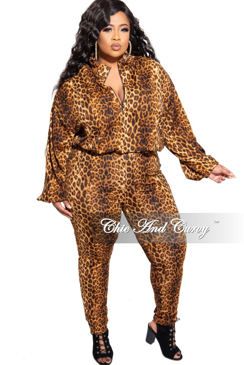 New Plus Size 2-Piece Pull Over Zip-Up Jacket and Pants Set in Animal Print