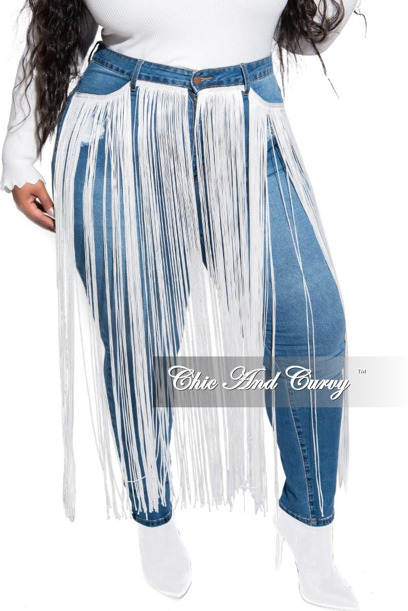 Final Sale Plus Size High Waist Denim Jeans with Front Long White Tassel