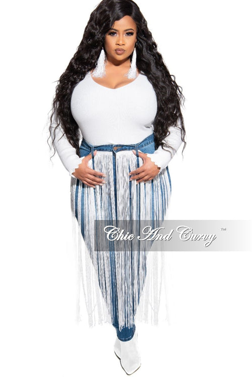 Final Sale Plus Size Long Sleeve Ribbed Sweater in Off White
