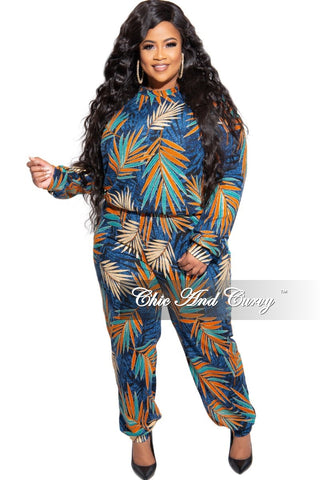 Final Sale Plus Size 2-Piece Sequin Slit Sleeve Top and Wide Leg Pants Set in Rose Gold and Black Zig-Zag Print