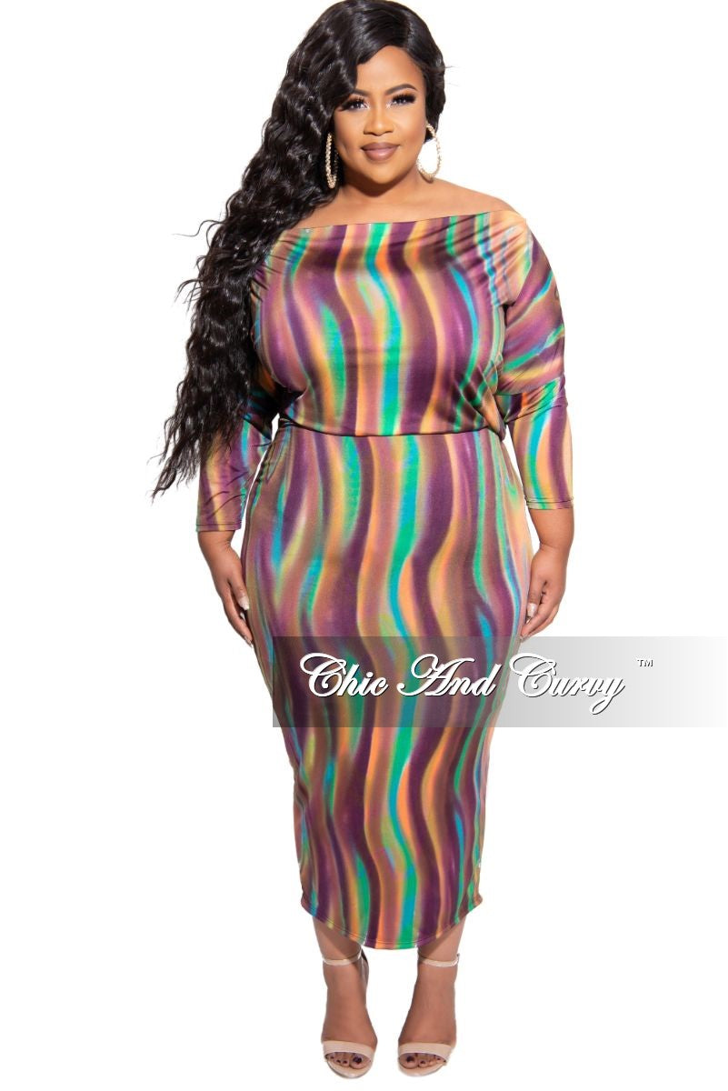 New Plus Size Off the Shoulder BodyCon Dress in Multi Color Design Print