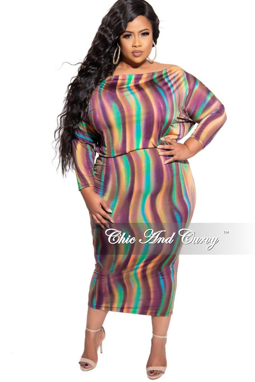 Final Sale Plus Size Off the Shoulder BodyCon Dress in Multi Color Design Print