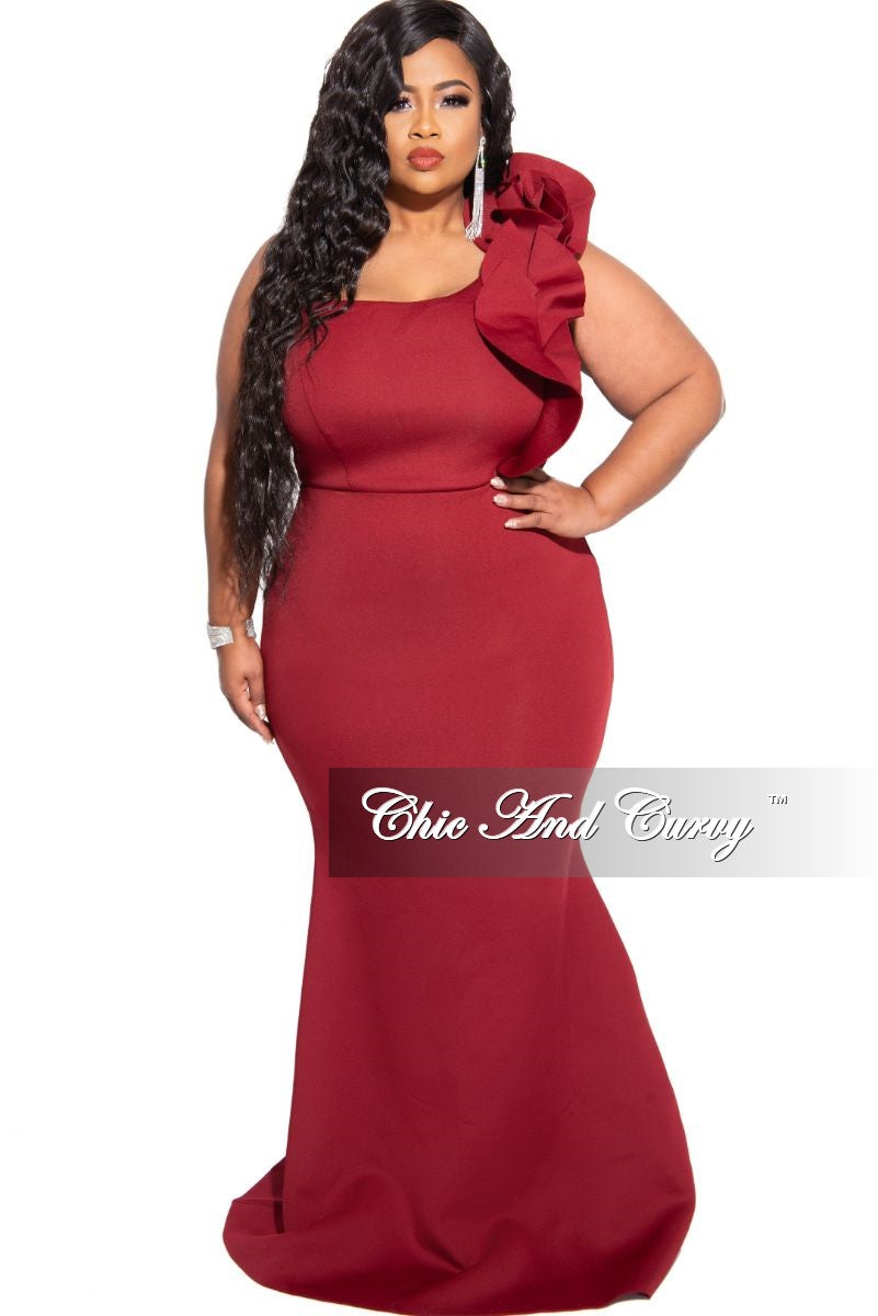 Final Sale Plus Size One Shoulder Multi Layered Ruffle Mermaid Gown in Wine Scuba