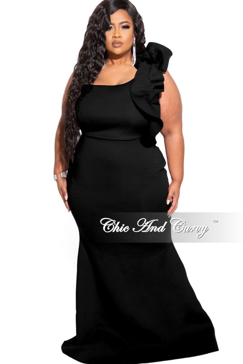 Final Sale Plus Size One Shoulder Multi Layered Ruffle Mermaid Gown in Black Scuba (Seasonal)
