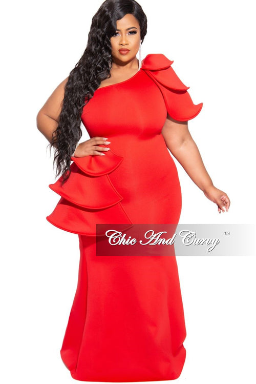 Final Sale Plus Size One Shoulder Layered Ruffle Gown in Red Scuba