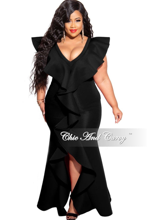 Final Sale Plus Size Tribute Sleeveless V-Neck Ruffle Gown with Front Slit in Black Scuba