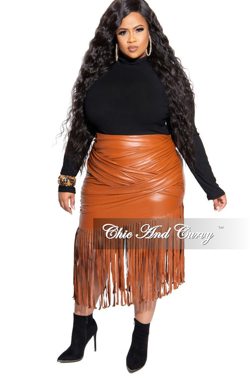 New Plus Size Faux Leather Fringe Skirt in Cognac