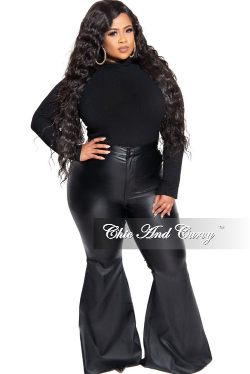 New Plus Size Faux Leather Bell Bottom Pants in Black