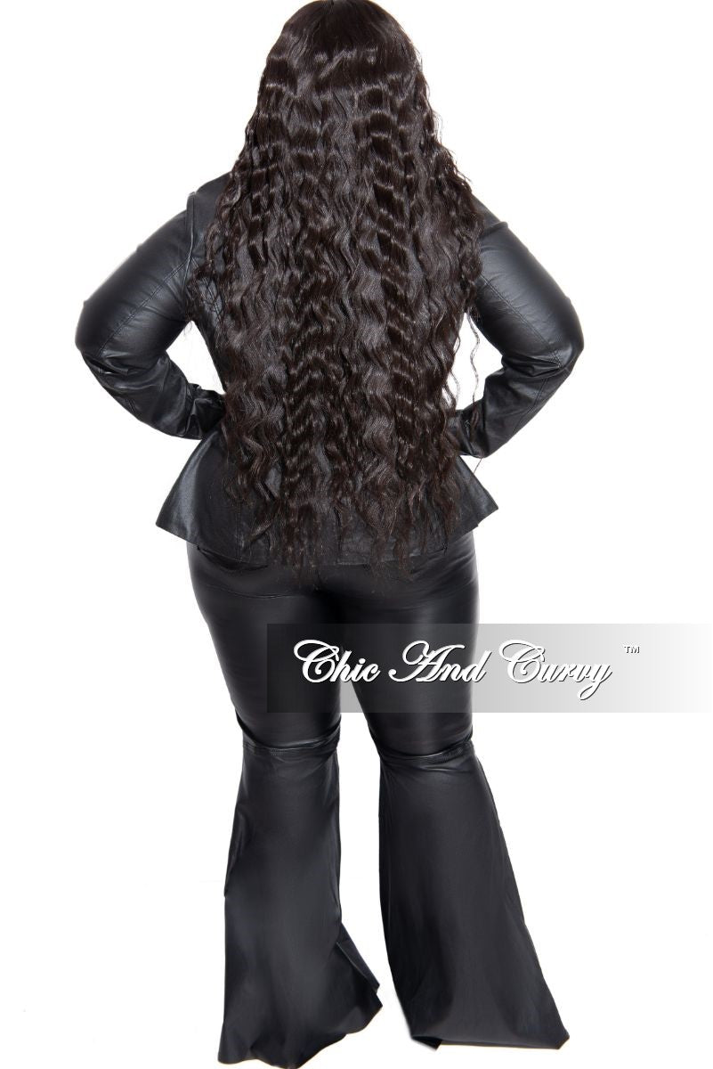 New Plus Size Faux Leather Blazer in Black