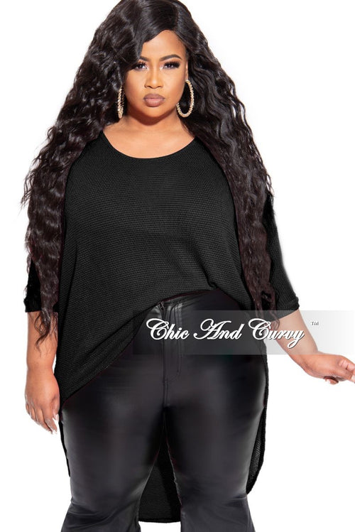Final Sale Plus Size Knitted High-Low Top in Black