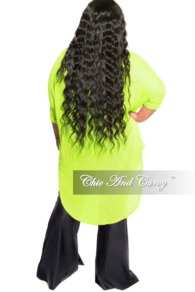 Final Sale Plus Size Knitted High-Low Top in Lime