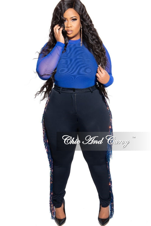 Final Sale Plus Size Navy High Waist Pants with Iridescent Sequin Fringe Trim