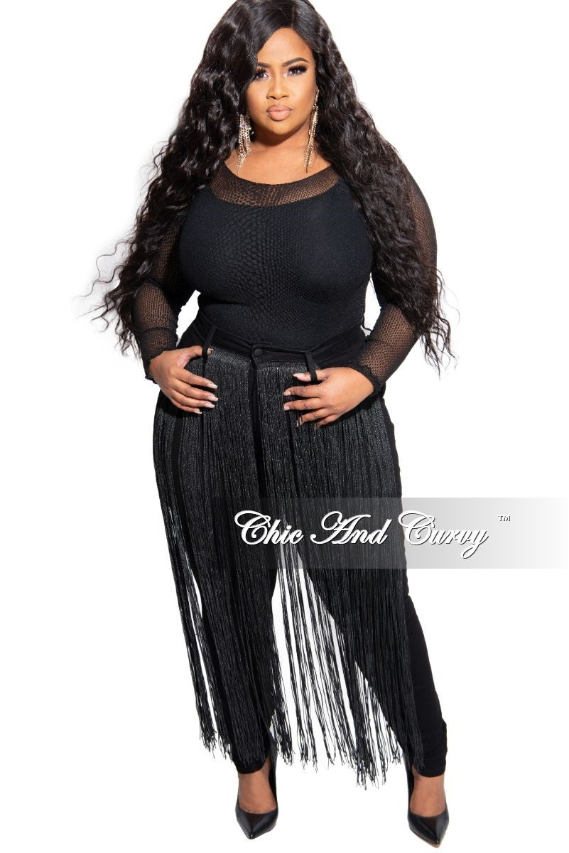 Final Sale Plus Size Black High Waist Jeans with Front Long Tassel Trim