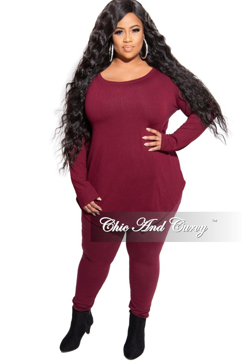 New Plus Size 2-Piece Top and Legging Set in Burgundy