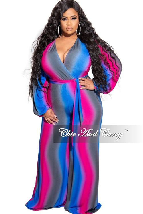 New Plus Size Faux Wrap Tie Jumpsuit in Fuchsia Royal Blue and Grey Tie Dye Print