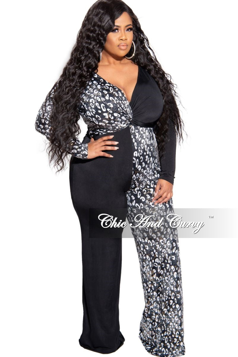 New Plus Size Faux Wrap Color Block Jumpsuit in Black Gold Foil and White