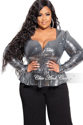 Final Sale Plus Size Peplum Top with Ruffle Sleeves and Layer Overlay in Black Scuba