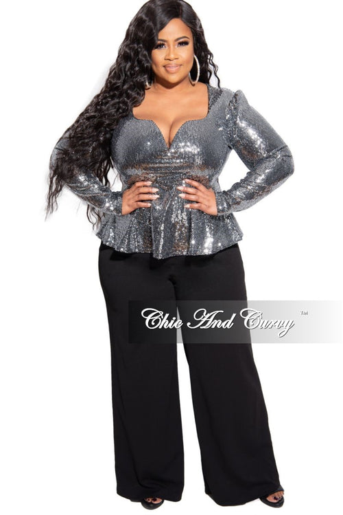 Final Sale Plus Size Long Sleeve Deep V Peplum Top in Silver