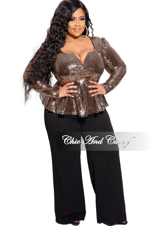 Final Sale Plus Size Long Sleeve Deep V Peplum Top in Gold