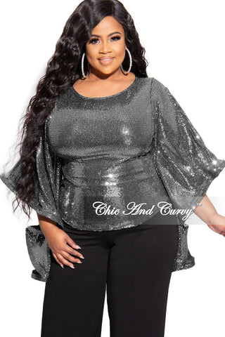 New Plus Size Collared Button Blouse in Black